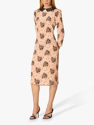 L.K.Bennett Yoko Floral Silk Midi Dress, Pink