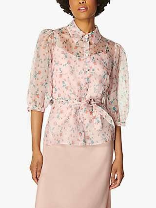 L.K.Bennett Luella Silk Organza Blouse, Pink