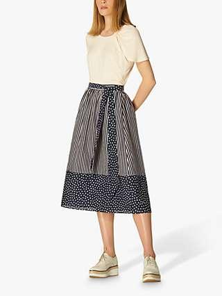 L.K.Bennett Smith Spot Print Skirt, Navy/Cream