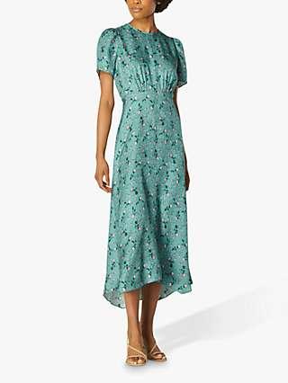L.K.Bennett Boyd Silk Jacquard Rose Print Dress, Teal