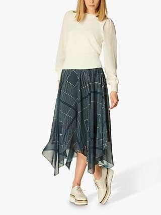 L.K.Bennett Wait Dip Hem Midi Skirt, Navy/Cream
