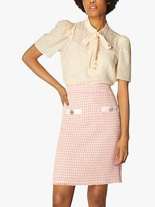 L.K.Bennett Beau Tweed Skirt, Pink/Cream