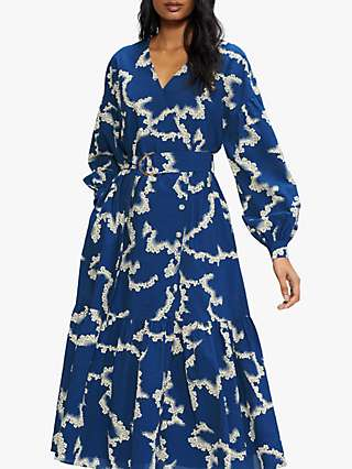 Ted Baker Oversized Abstract Midi Dress, Mid Blue