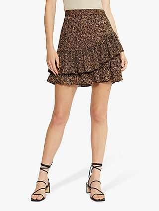 Ted Baker Abstract Animal Print Frill Mini Skirt, Brown