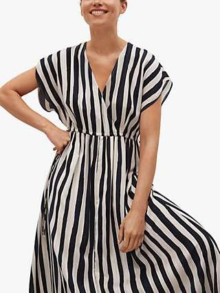 Mango Striped Flared Maxi Dress, Black/White
