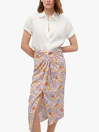 Mango Knotted Waist Retro Floral Midi Skirt, Pink/Multi