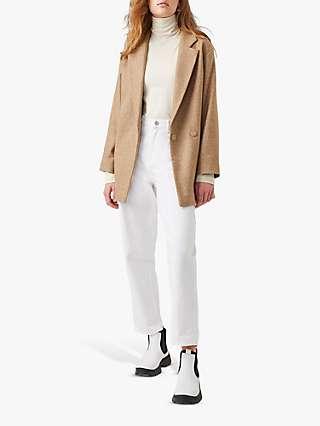 French Connection Balia Tweed Belted Coat, Camel Melange