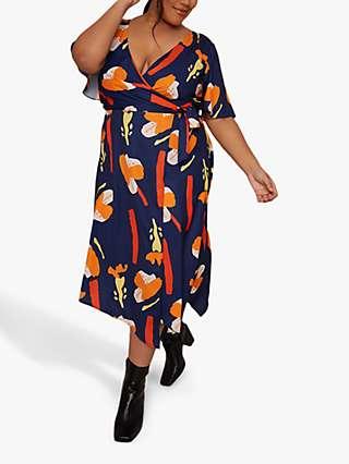 Chi Chi London Curve Floral Print Wrap Dress, Navy/Multi