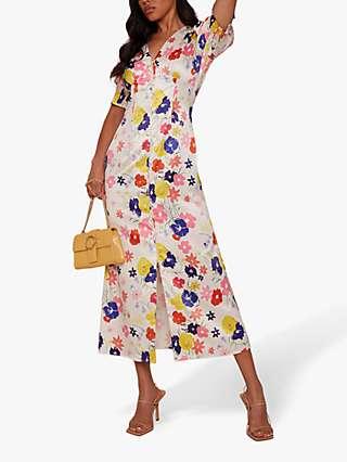Chi Chi London Floral Puff Sleeve Midi Dress, Multi