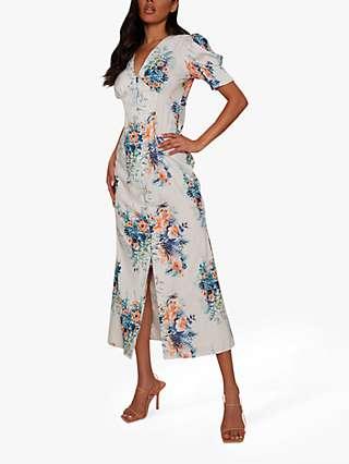 Chi Chi London Floral Print Midi Day Dress, Cream
