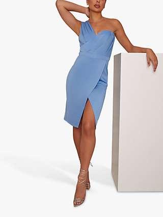 Chi Chi London Pleat Bodycon Dress, Blue