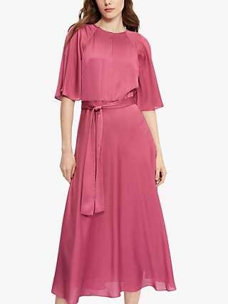 Ted Baker Raglan Sleeve Tie Belt Midi Dress, Dusky Pink