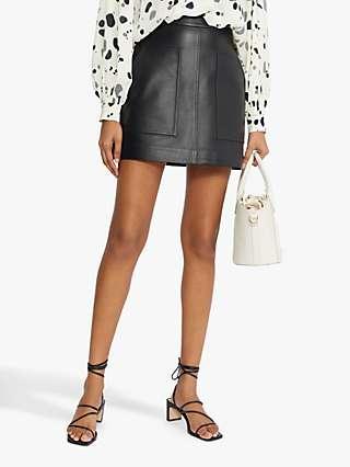 Ted Baker Mini Leather Skirt, Black