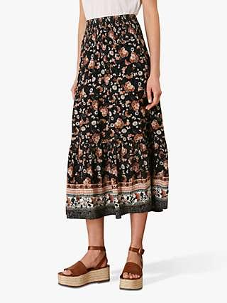 Monsoon Caprice Shirred Waist Floral Skirt, Black