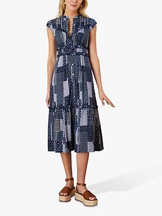 Monsoon Patchwork Print Midi Dress, Navy