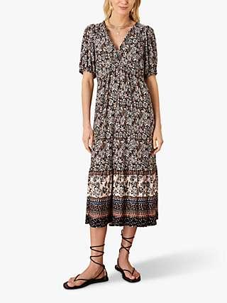 Monsoon Heritage Floral Midi Dress, Multi