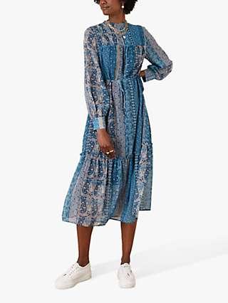 Monsoon Paisley Print Midi Dress, Blue