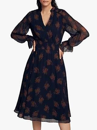 The Fold Vieste Silk Midi Dress, Navy