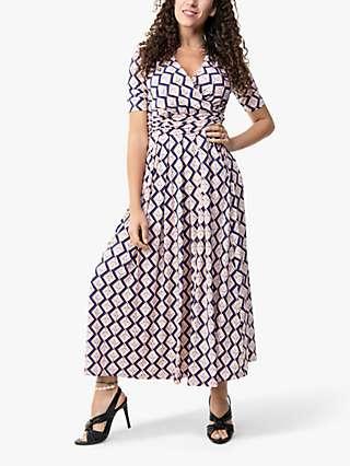 Jolie Moi Denise Geometric Bird Print Wrap Maxi Dress, Pink