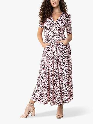 Jolie Moi Denise Leopard Print Wrap Maxi Dress, Pink
