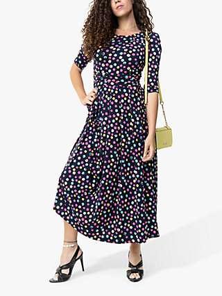 Jolie Moi Pauline Spot Print Maxi Dress, Navy