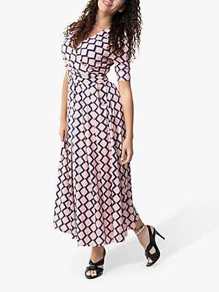 Jolie Moi Denise Geometric Print Wrap Maxi Dress, Pink