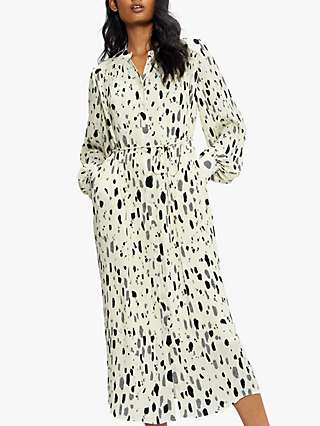 Ted Baker Abstract Spot Print Plisse Shirt Midi Dress, Natural/Multi