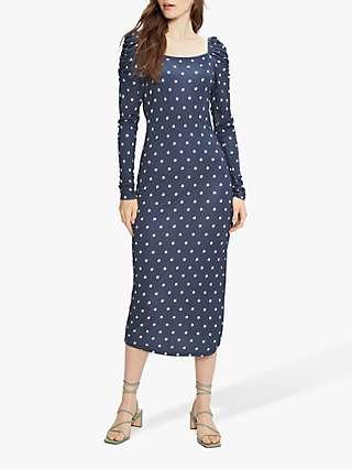 Ted Baker Ditsy Spot Midi Dress, Dark Blue