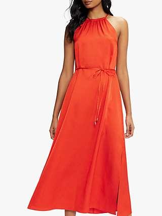 Ted Baker Halterneck Midi Dress, Burnt Orange