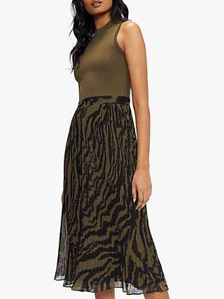 Ted Baker Mockable Plisse Skirt Midi Dress, Olive