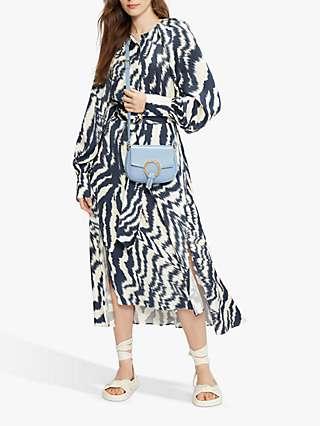 Ted Baker Fluid Abstract Print Midi Dress, Cream/Navy