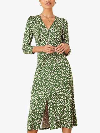 Monsoon Animal Print Midi Dress, Khaki