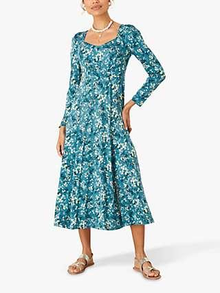Monsoon Amanza Ditsy Print Midi Dress, Teal