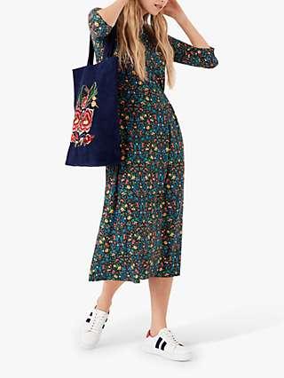 Brora Liberty Print Jersey Turtleneck Midi Dress, Rainbow Garden
