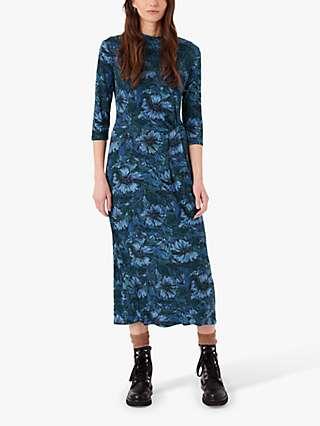 Brora Liberty Print Jersey Turtleneck Midi Dress, Indigo Bloom