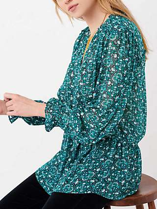 Brora Silk Circle Print Blouse, Emerald
