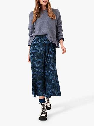 Brora Liberty Print Jersey Midi Skirt, Indigo Bloom