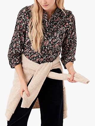 Brora Folk Floral Print Cotton Silk Blouse, Black/Multi