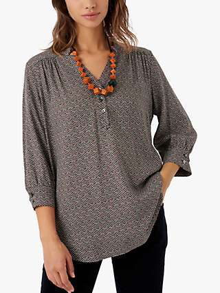 Brora Graphic Print Tunic Top, Forest/Hibiscus