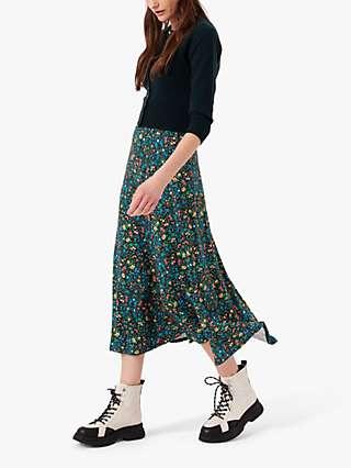 Brora Liberty Print Jersey Midi Skirt, Rainbow Garden