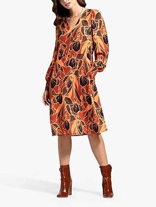 HotSquash Floral Chiffon Dress, Brown/Multi