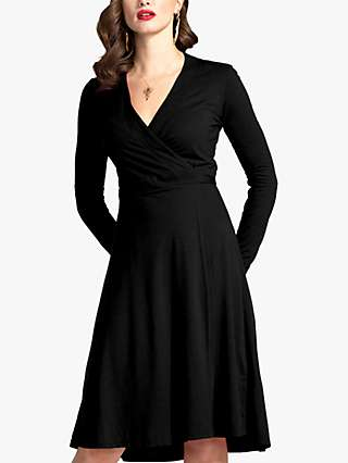 HotSquash Fit And Flare Wrap Dress, Black