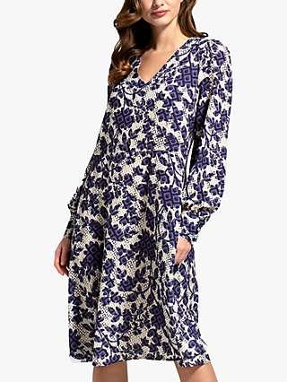 HotSquash Geometric Blossom Print Chiffon Dress, Blue