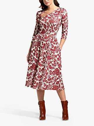 HotSquash Geo Blossom Print Asymmetric Neck Midi Dress, Red/Multi