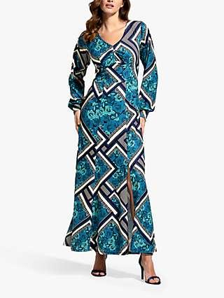 HotSquash Retro Tile Print V-Neck Long Sleeve Maxi Dress, Teal