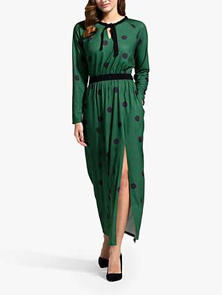 HotSquash Spot Print Tie Neck Maxi Dress, Bottle Green