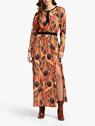 HotSquash Floral Print Tie Neck Maxi Dress, Brown