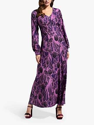 HotSquash Damson Floral Print Maxi Dress, Purple