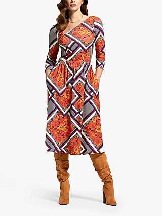 HotSquash Retro Tile Print Asymmetric Neck Midi Dress, Orange/Multi