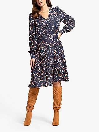 HotSquash Spot Print Chiffon Dress, Multi